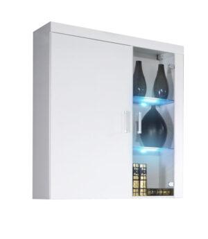 Závěsná vitrína ze sklem SAMBA II SM4 bílý lesk