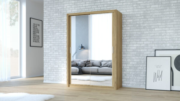 Skříň VISTA 200 Dub Zlatý + Zrcadlo
