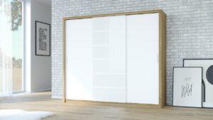 Skříň PANAMA 250 dub zlatý / bílý + bílé sklo