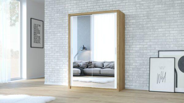 Skříň VISTA 200 Dub Zlatý / Bílý + Zrcadlo