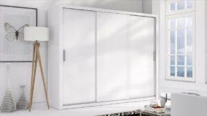 Luxusní šatní skříň s posuvnými dveřmi LONDON 250 bílý / bílý mat