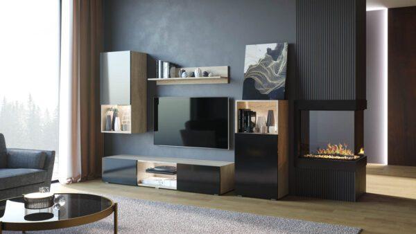 Moderni obývací stěna LOFT Sonoma / Černý lesk