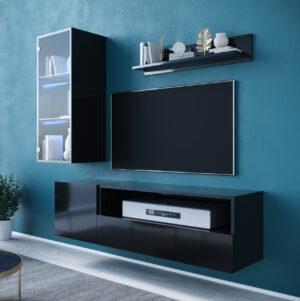 Obývací stěna ONIVIO 3 černý lesk