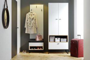 Předsíňová stěna OLIER 1 bílý / dub artisan