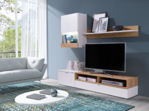 Trendy obývací stěna ALANI Bílý / Dub Zlatý